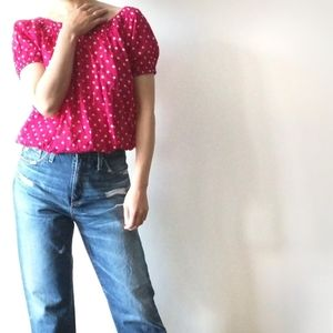 2/$25 French Connection polka dot blouse Size 0